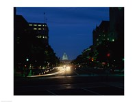 Traffic on a road, Washington, D.C., USA Framed Print