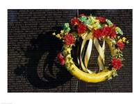 Wreath on the Vietnam Veterans Memorial Wall, Vietnam Veterans Memorial, Washington, D.C., USA Fine Art Print