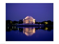 Jefferson Memorial Lit At Dusk, Washington, D.C., USA Framed Print