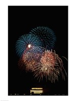 Fireworks display at night with a memorial in the background, Lincoln Memorial, Washington DC, USA Fine Art Print