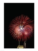 Fireworks display at night with a memorial in the background, Lincoln Memorial, Washington DC, USA Framed Print