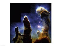 Gaseous pillars of M-16 Eagle Nebula, Star birth photographed by Hubble Space Telescope Framed Print