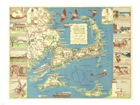 1940 Colonial Craftsman Decorative Map of Cape Cod, Massachusetts Framed Print