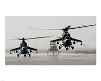 MI-35 attack helicopters from the Afghan National Army Air Corps Framed Print