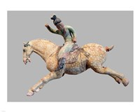 A ceramic female polo player, from northern China, Tang Dynasty Fine Art Print