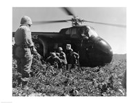 Korea, US Marine Corps, soldiers exiting military helicopter Fine Art Print