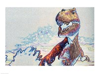Close-up of a tyrannosaurus rex in color Framed Print