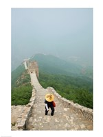 Tourist climbing up steps on a wall, Great Wall of China, Beijing, China Fine Art Print