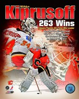 Miikka Kiprusoff Calgary Flames All-Time Wins Leader Composite Framed Print
