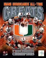 University of Miami Hurricanes All Time Greats Composite Framed Print