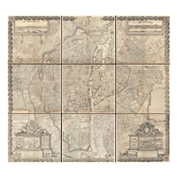 1652 Gomboust 9 Panel Map of Paris, France Framed Print