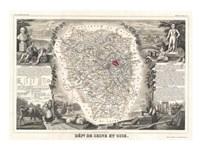 1852 Levasseur Map of Seine et Oise Framed Print