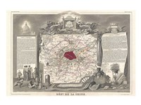 1852 Levasseur Map of the Department de la Seine Framed Print