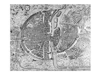 Map of Paris circa 1550 Fine Art Print