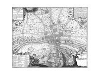 Plan de Paris - gray Framed Print