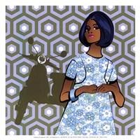 Girl with Vespa - mini Framed Print