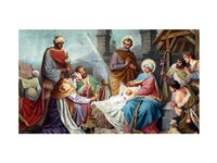 Adoration of the Shepherds and the Magi Framed Print
