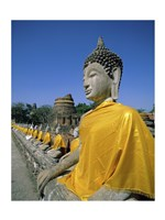 Buddha statue at a temple, Wat Yai Chai Mongkol, Ayutthaya, Thailand Framed Print