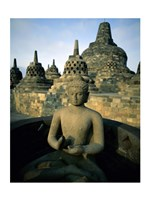 Buddha statue in front of a temple, Borobudur Temple, Java, Indonesia Fine Art Print