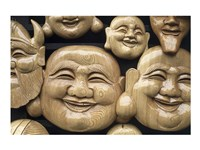Close-up of Faces of Laughing Buddha, Vietnam Fine Art Print