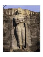 Statue of Buddha carved in a rock, Gal Vihara, Polonnaruwa, Sri Lanka Framed Print