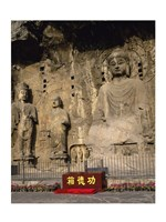 Buddha Statue in a Cave, Longmen Caves, Luoyang, China Vertical Framed Print