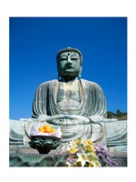 Daibutsu Great Buddha, Kamakura, Honshu, Japan With Flowers Framed Print