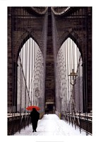 Brooklyn Bridge Meets Red Fine Art Print