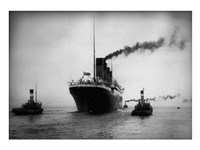 Titanic with Tugboats Framed Print
