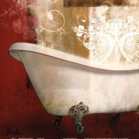 Red Bathroom & Ornament I Fine Art Print