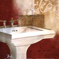 Red Bathroom & Ornament II Fine Art Print