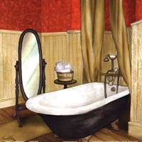 Red Farmhouse Bath II Fine Art Print