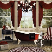 Red Chandelier Bath I Fine Art Print
