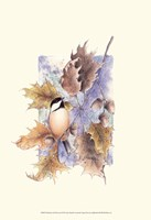 Chickadee and Oak Leaves Framed Print