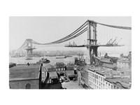 Manhattan Bridge Construction, 1909 far Fine Art Print