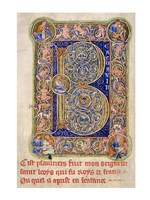 Illuminated Manuscript, Psalter. Inhabited Initial B of Psalm 1 Fine Art Print