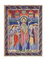 Albani Psalter, appearance of the Risen One on the eighth day Fine Art Print