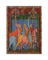 St. Albans Psalter, The Three Magi following the star Fine Art Print