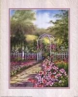 White Trellis/Roses Fine Art Print