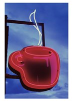 Neon Coffee Cup Sign Fine Art Print