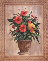 Hibiscus with Parrot Fine Art Print