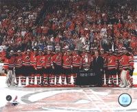The New Jersey Devils with the Prince of Wales Trophy  after Winning the 2012 NHL Eastern Conference Finals Fine Art Print