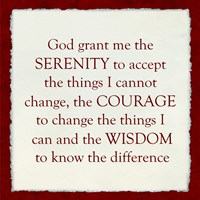 Serenity Prayer - red frame Framed Print