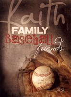 Faith Family Baseball Framed Print