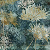 Navy Chrysanthemums I Fine Art Print