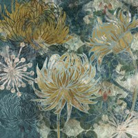 Navy Chrysanthemums II Fine Art Print