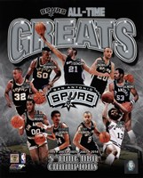 San Antonio Spurs All-Time Greats Composite Framed Print