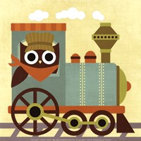 Owl Train Conductor Fine Art Print