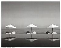 Umbrellas by the Sea Fine Art Print