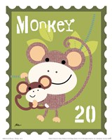 Animal Stamps - Monkey Framed Print